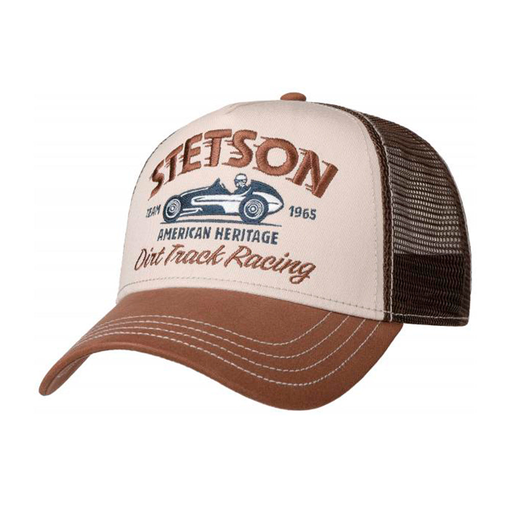 Stetson Dirt Track Racing Trucker Snapback Brown Khaki Brun Beige
