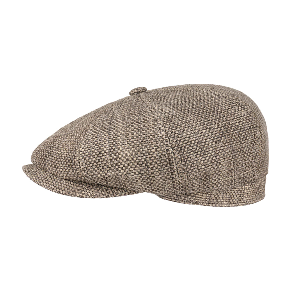 Stetson Hatteras Toyo Sixpence Flat Cap Brown Brun