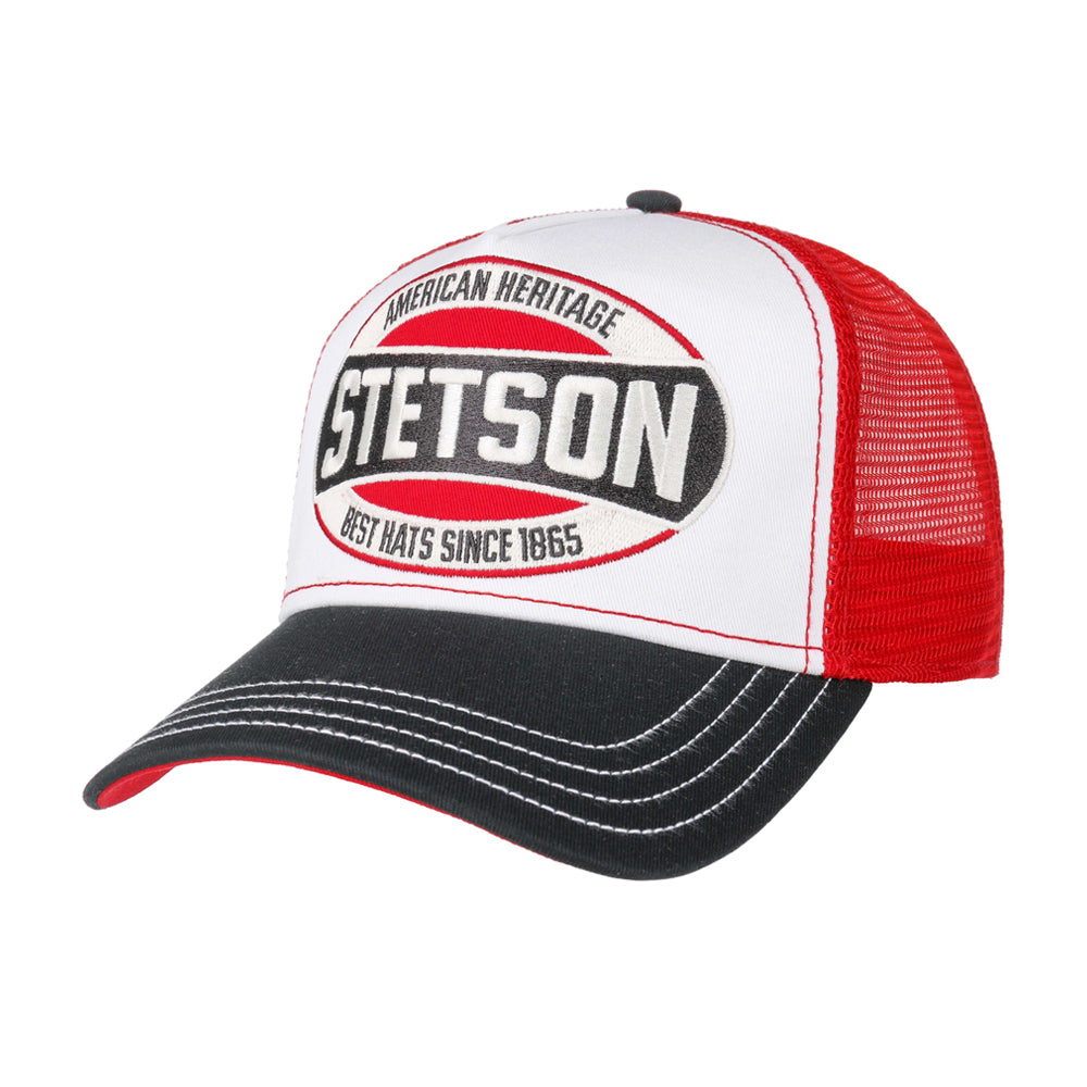 Stetson Heritage Trucker Snapback White Red Black Hvid Rød Sort