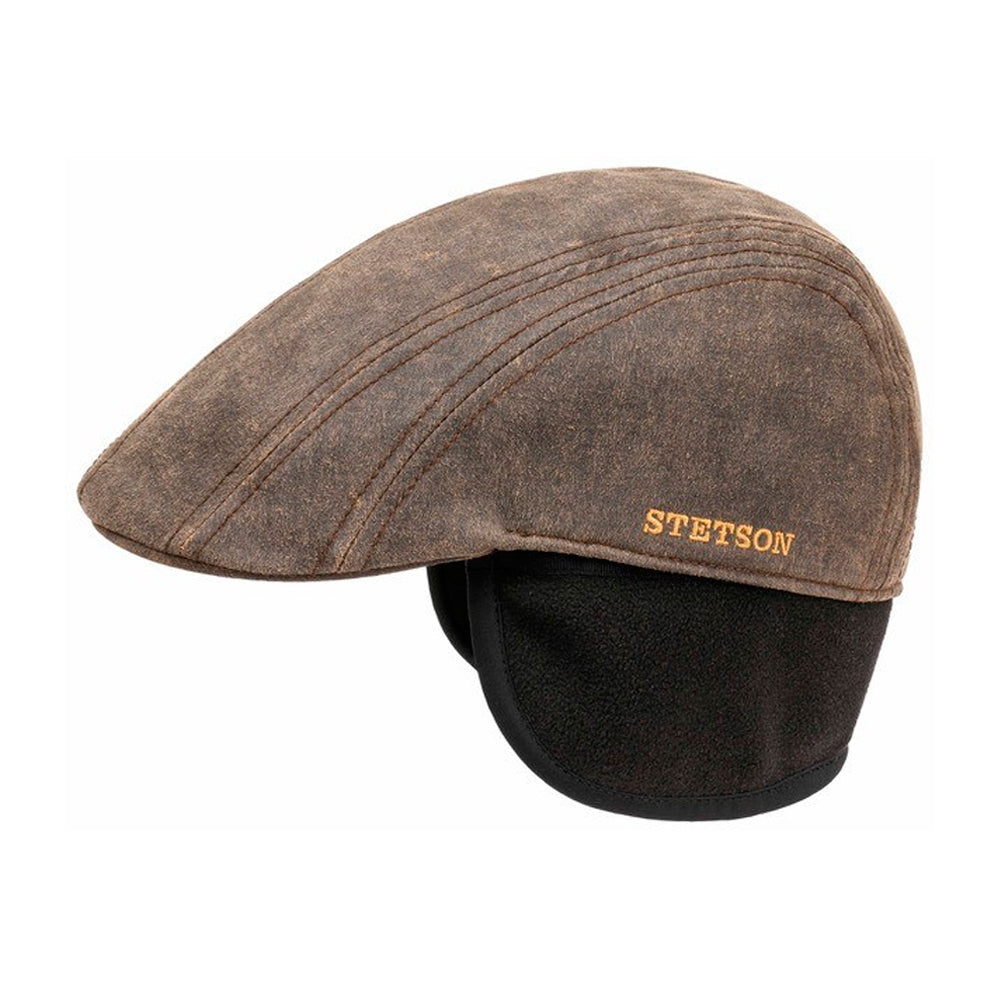 Stetson Ivy Cap CO/PE EF Earlaps Sixpence Flat Cap Brown Brun 6161106 - 6