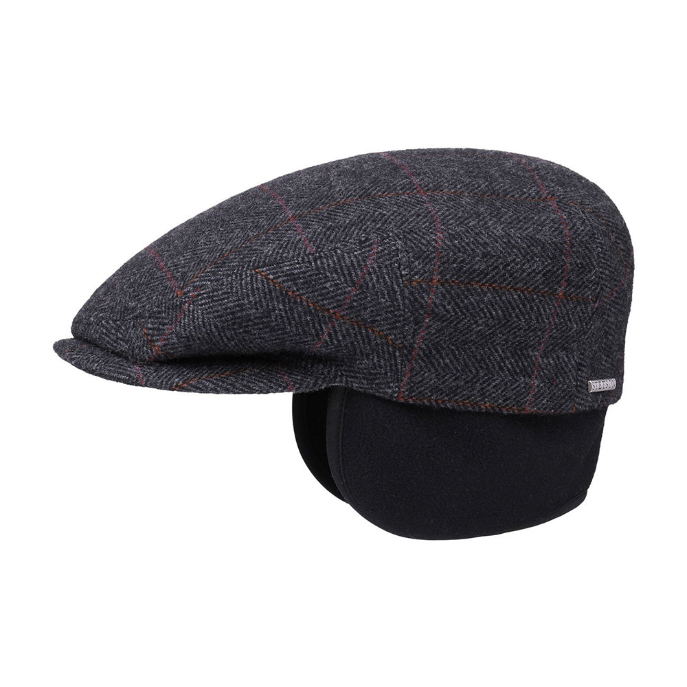 Stetson Kent Earlaps Sixpence Flat Cap Anthracite Grey Fiske Grå