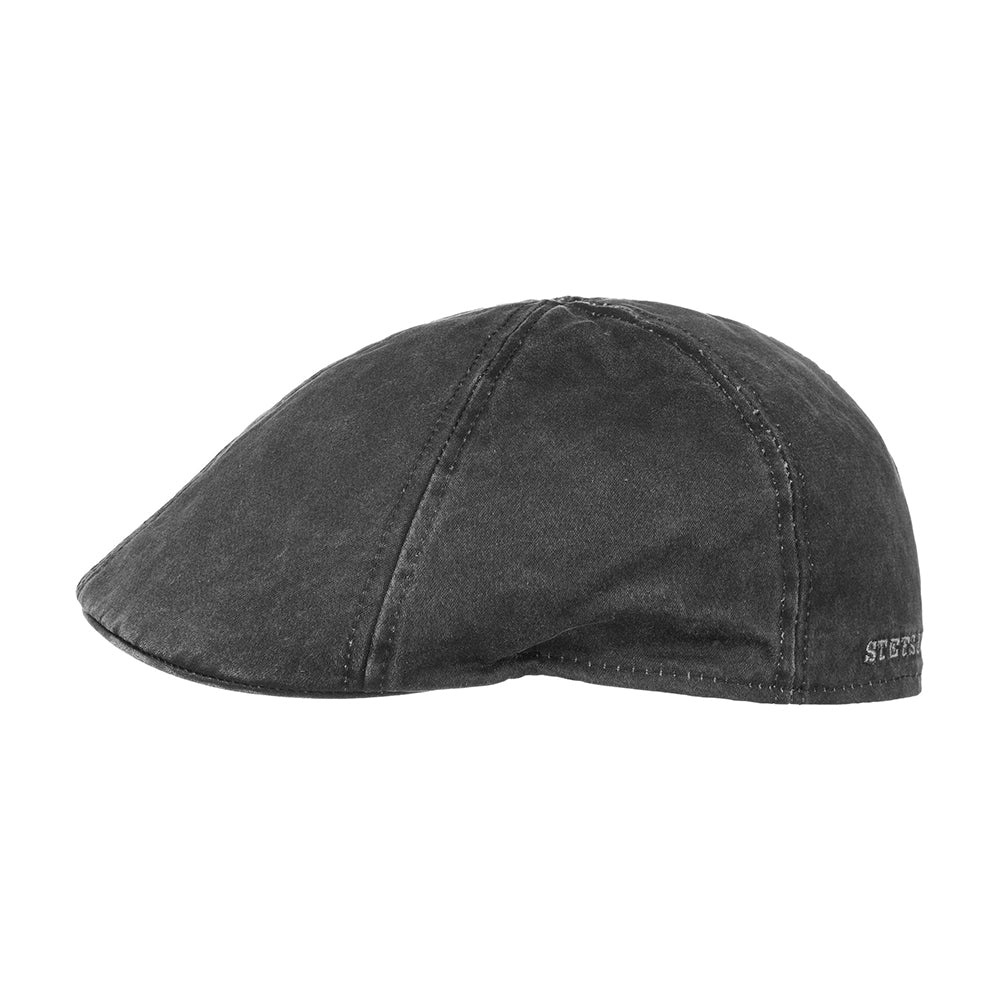Stetson Level Gatsby Sixpence Flat Cap Black Sort