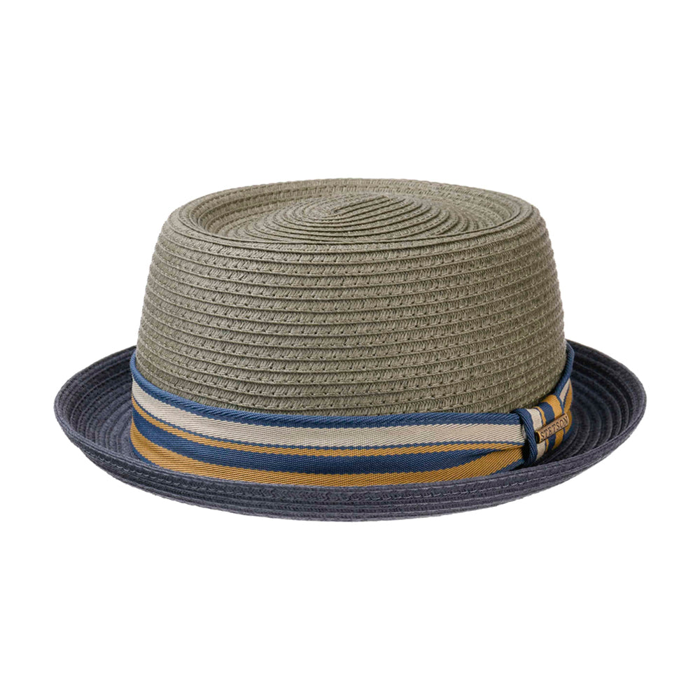 Stetson Licano Toyo Pork Pie Straw Hat Grey Navy Grå Blå 1698509-35