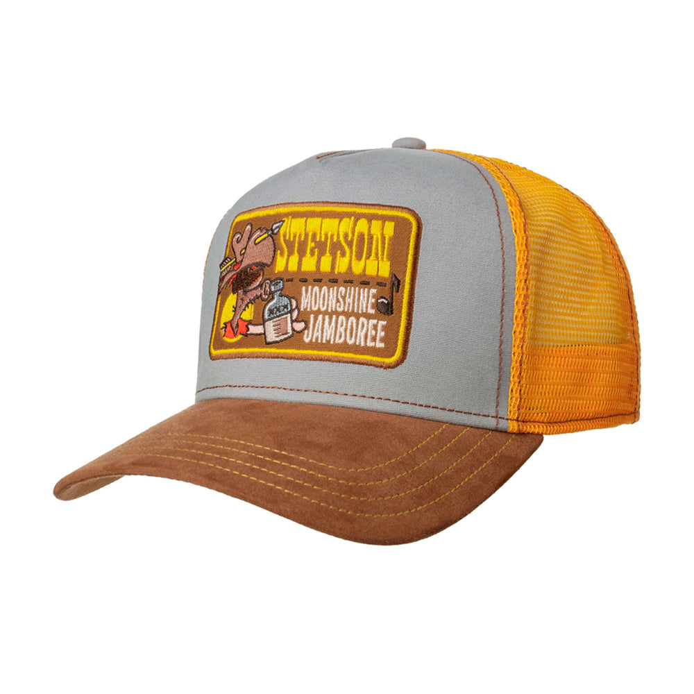 Stetson Moonshine Jamboree Trucker Snapback Yellow Grey Brown Gul Grå Brun 7751174-63