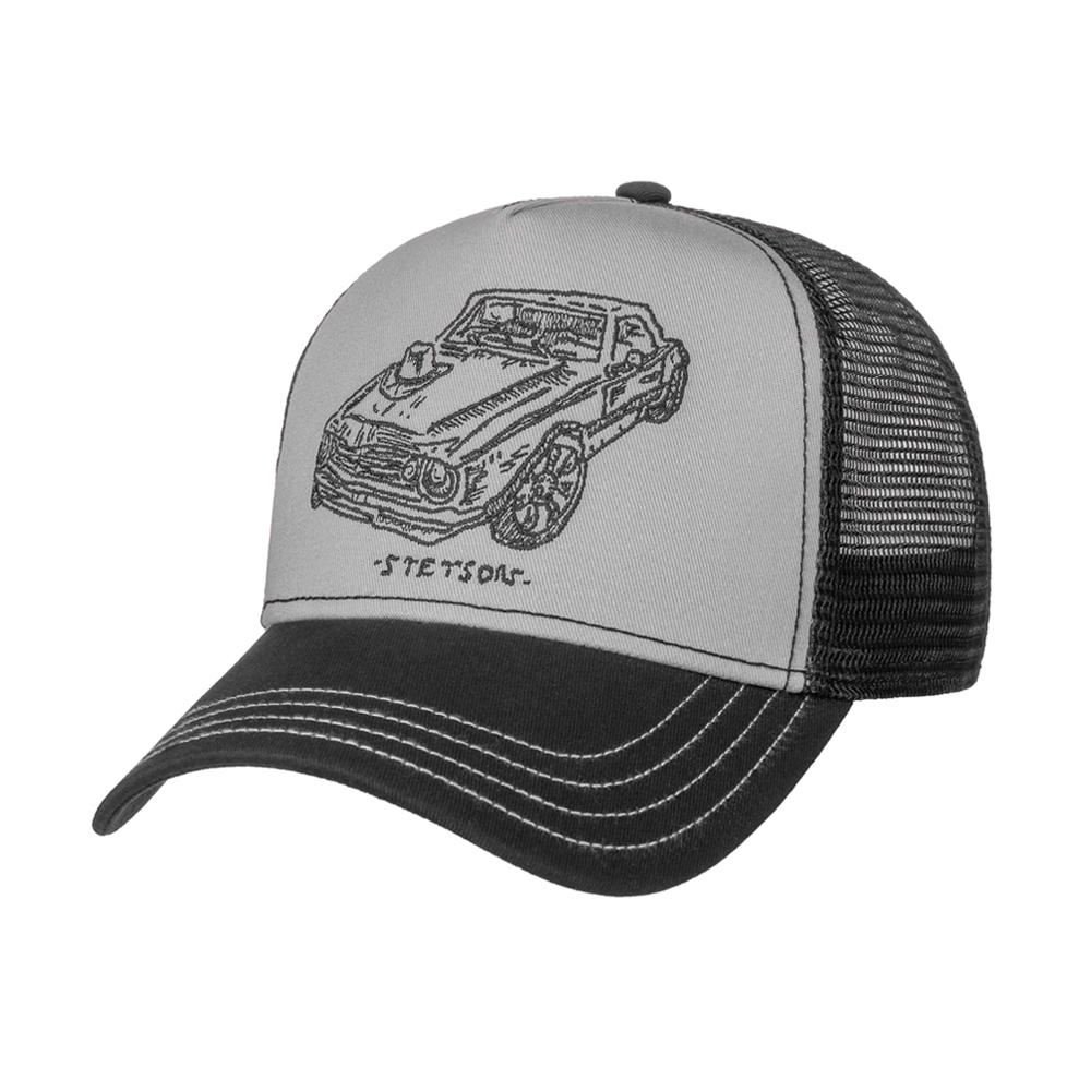 Stetson Muscle Car Trucker Snapback Black Sort Grey Grå
