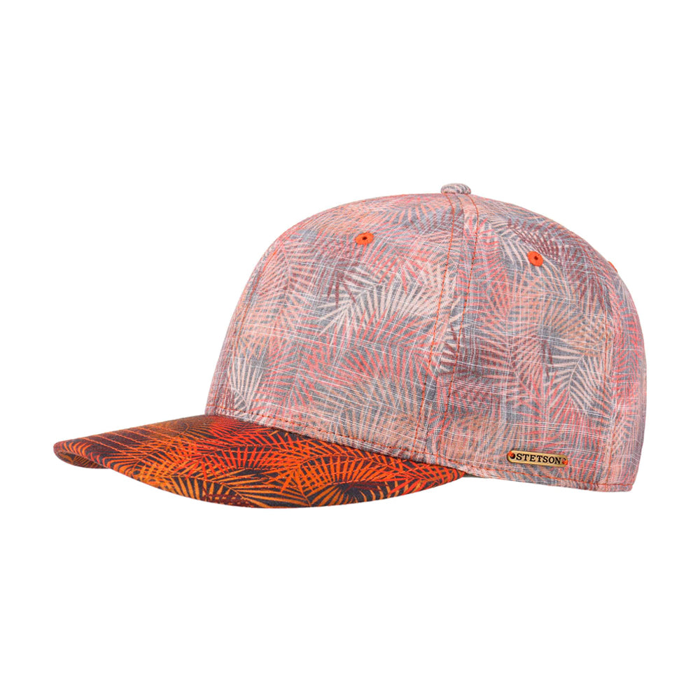 Stetson Palm Leaf Baseball Cap Snapback Orange Mottled