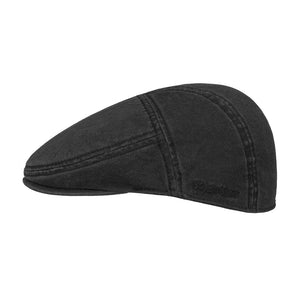 Stetson Paradise Cotton Sixpence Flat Cap Black Sort