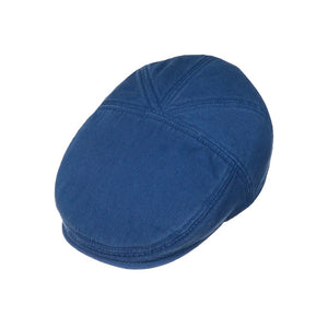 Stetson Paradise Cotton Sixpence Flat Cap Royal Blue Blå
