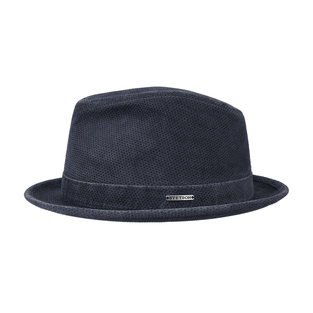 Stetson Player Printed Cord 2 Fedora Hat Navy Blå