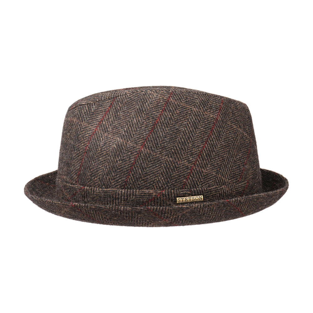 Stetson Player Wool Fedora Hat Black Brown Sort Brun