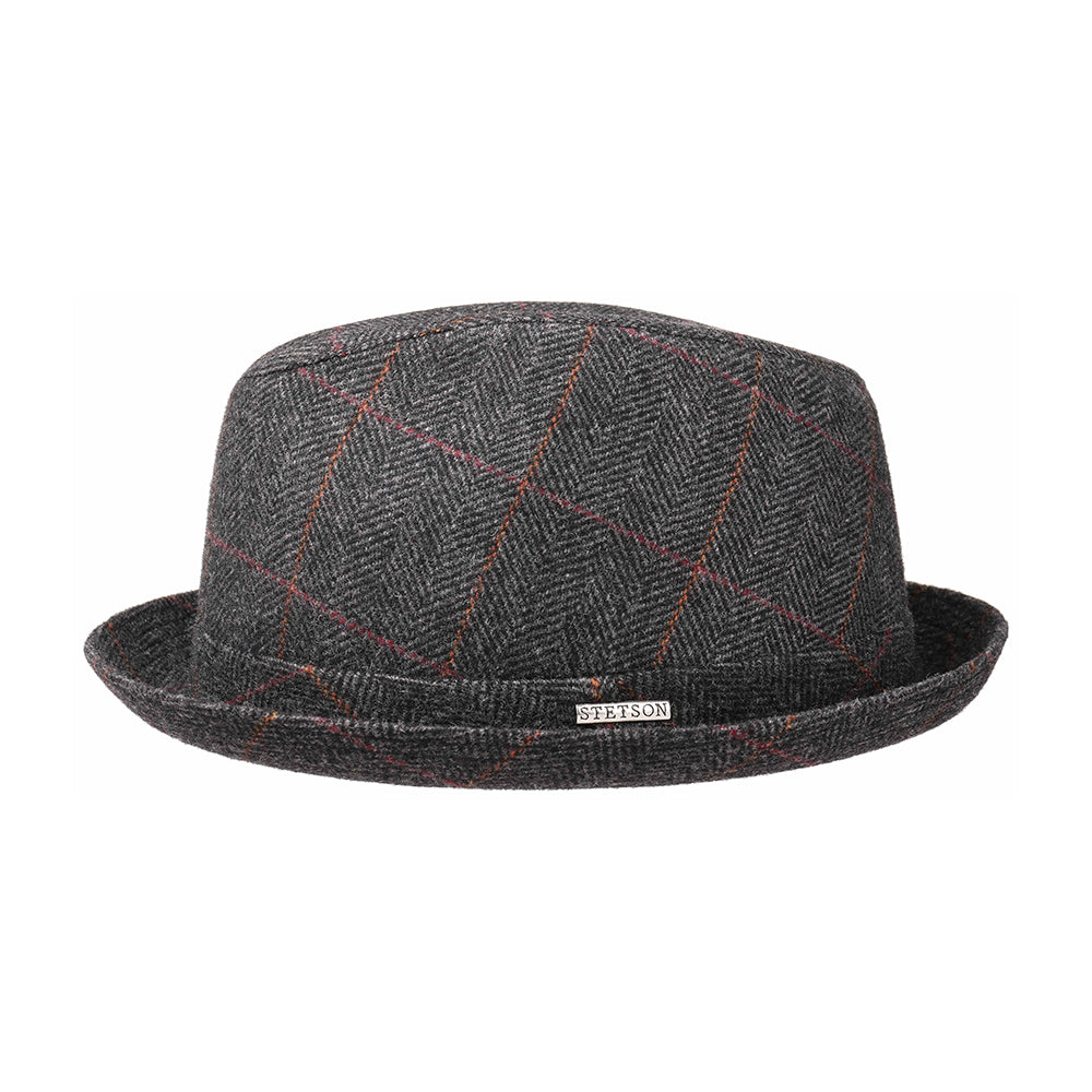Stetson Player Wool Fedora Hat Black Grey Sort Grå
