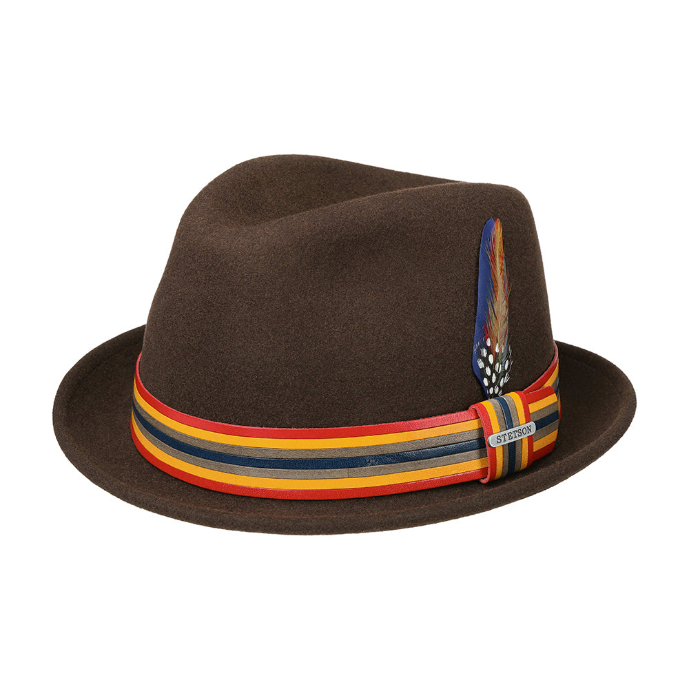 Stetson Player Woolfelt Felt Hat Fedora Brown Brun