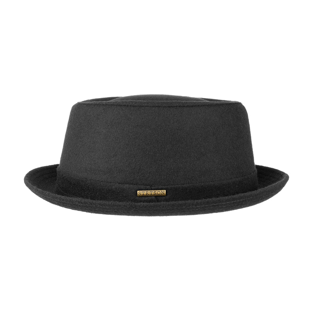 Stetson Pork Pie Wool Fedora Black Sort 1690102-1