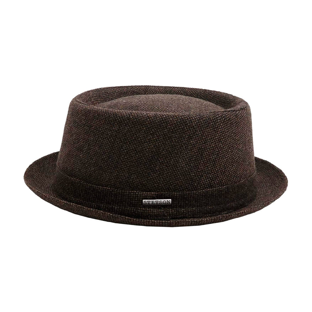 Stetson Pork Pie Wool Fedora Hat Brown Brun