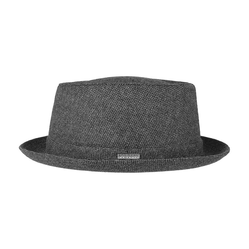 Stetson Pork Pie Wool Fedora Hat Grey Grå