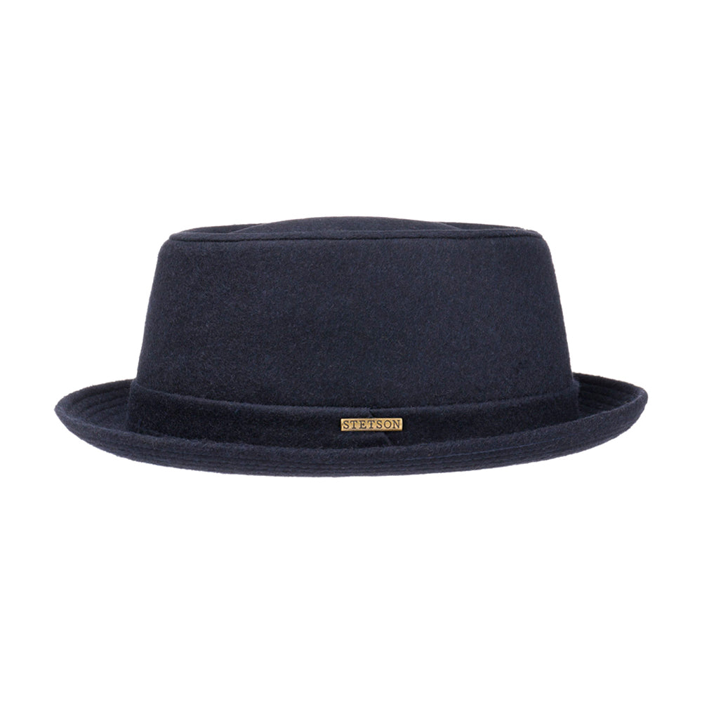 Stetson Pork Pie Wool Fedora Navy Gun Metal Blå 1690102-2