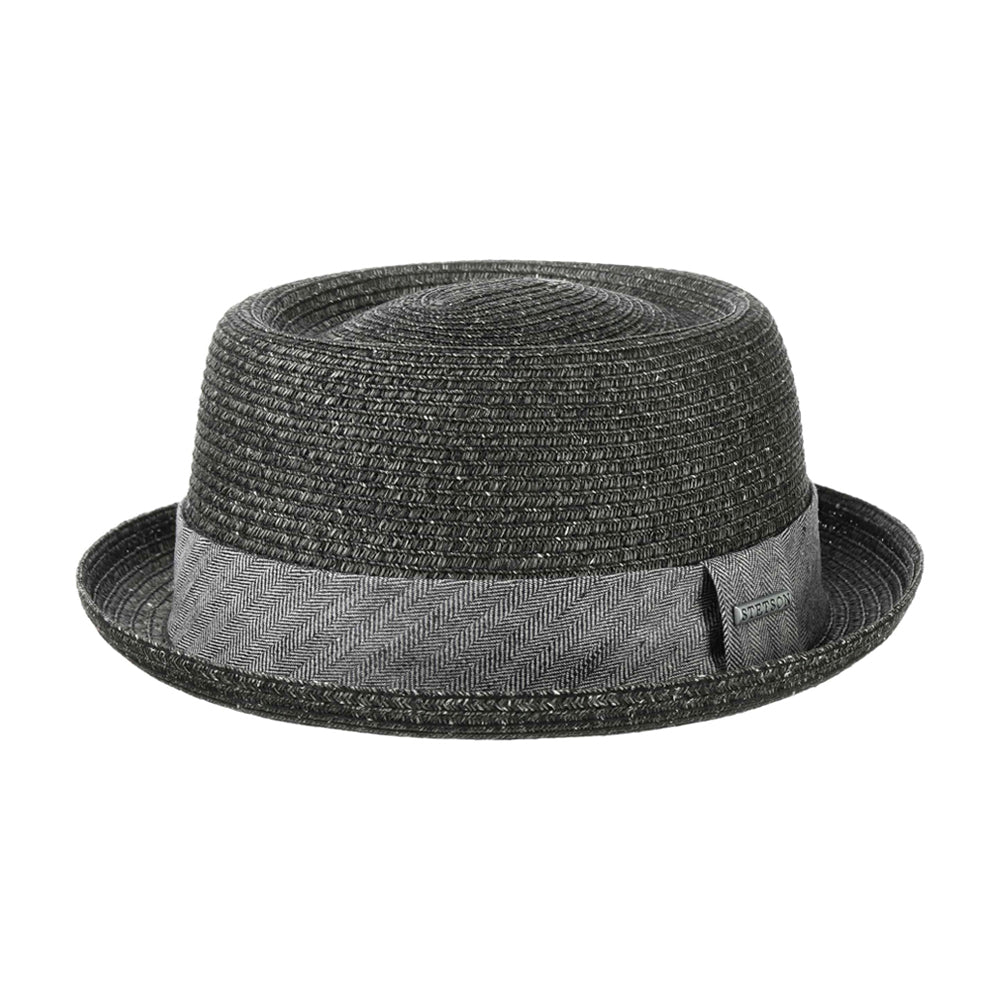 Stetson Robstown Toyo Pork Pie Straw Hat Strå Hat Black Sort 1698513-13