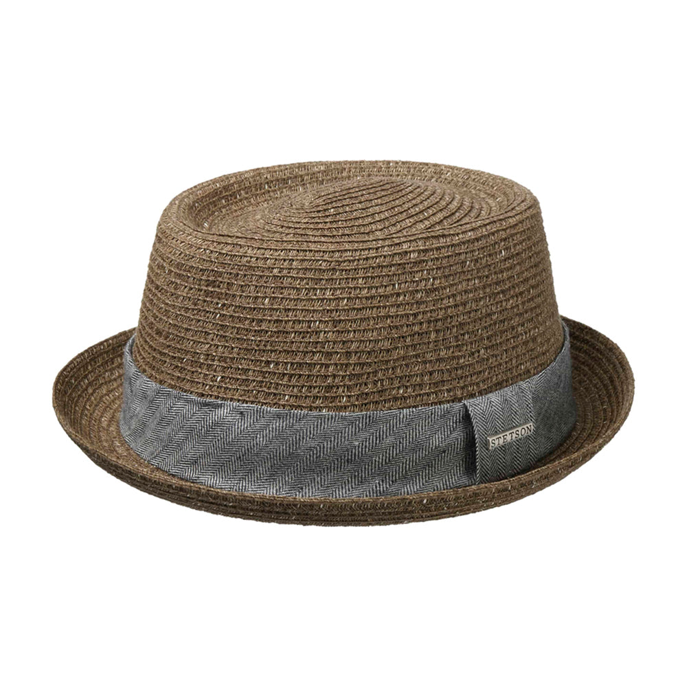 Stetson Robstown Toyo Pork Pie Straw Hat Strå Hat Brown Brun 1698513-65
