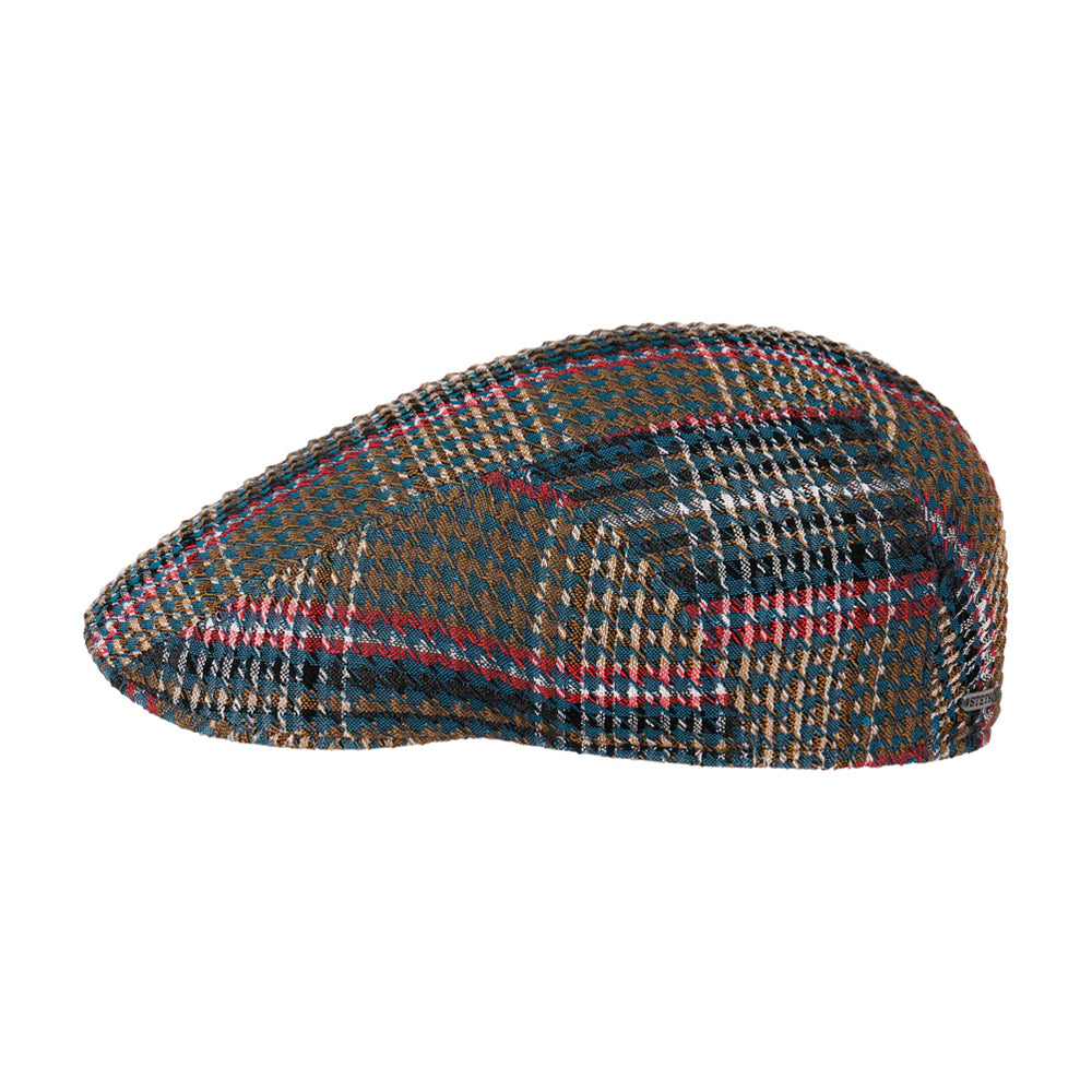 Stetson Ivy Cap Seersucker Check Sixpence Flat Cap Olive 6171301 - 225