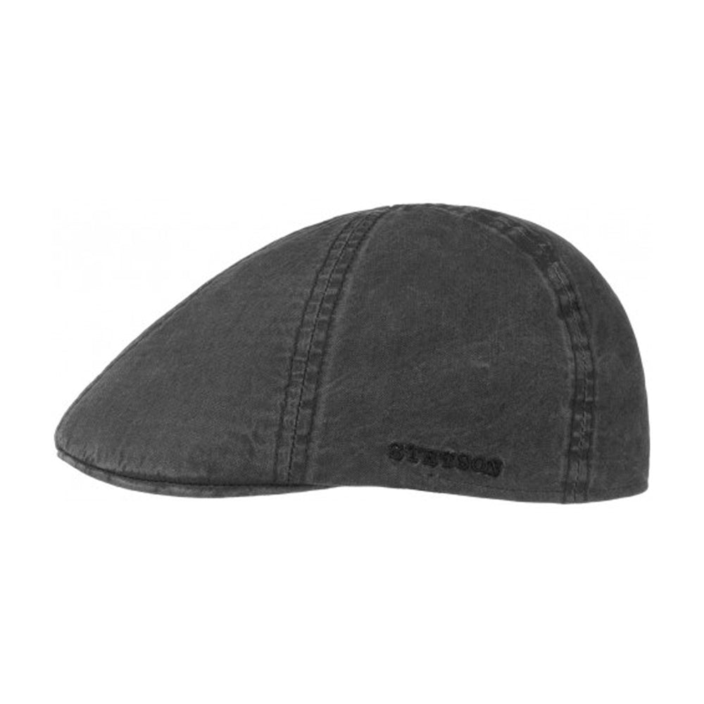 Stetson Texas Organic Cotton Sixpence Flat Cap Black Sort
