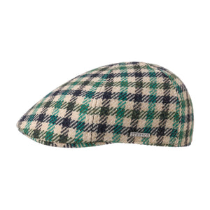 Stetson Texas Vichy Check Sixpence Flat Cap Green Beige Black Grøn Sort 6610205-227