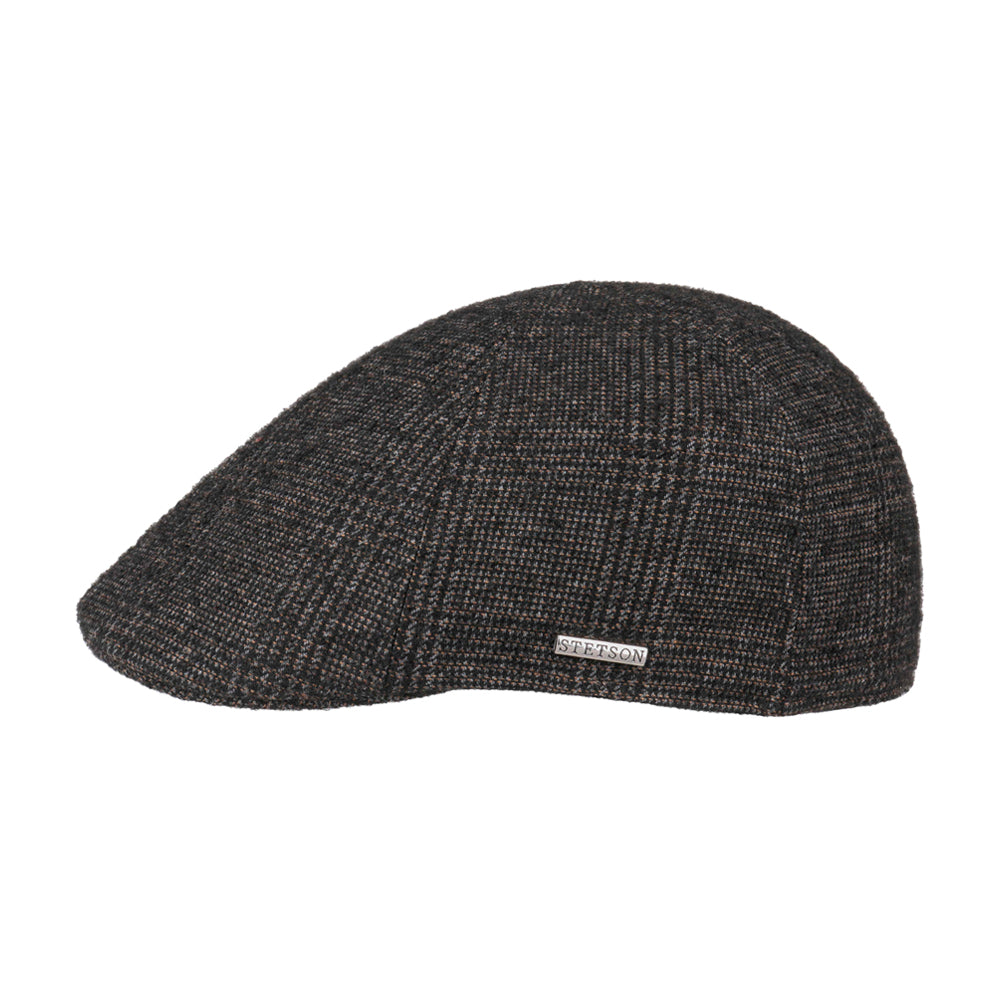 Stetson Texas Wool Sixpence Flat Cap Brown Grey Brun Grå