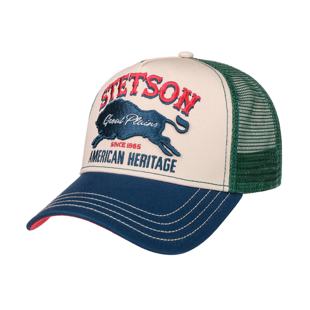 Stetson The Plains Trucker Snapback Green White Blue Navy Grøn Hvid Blå