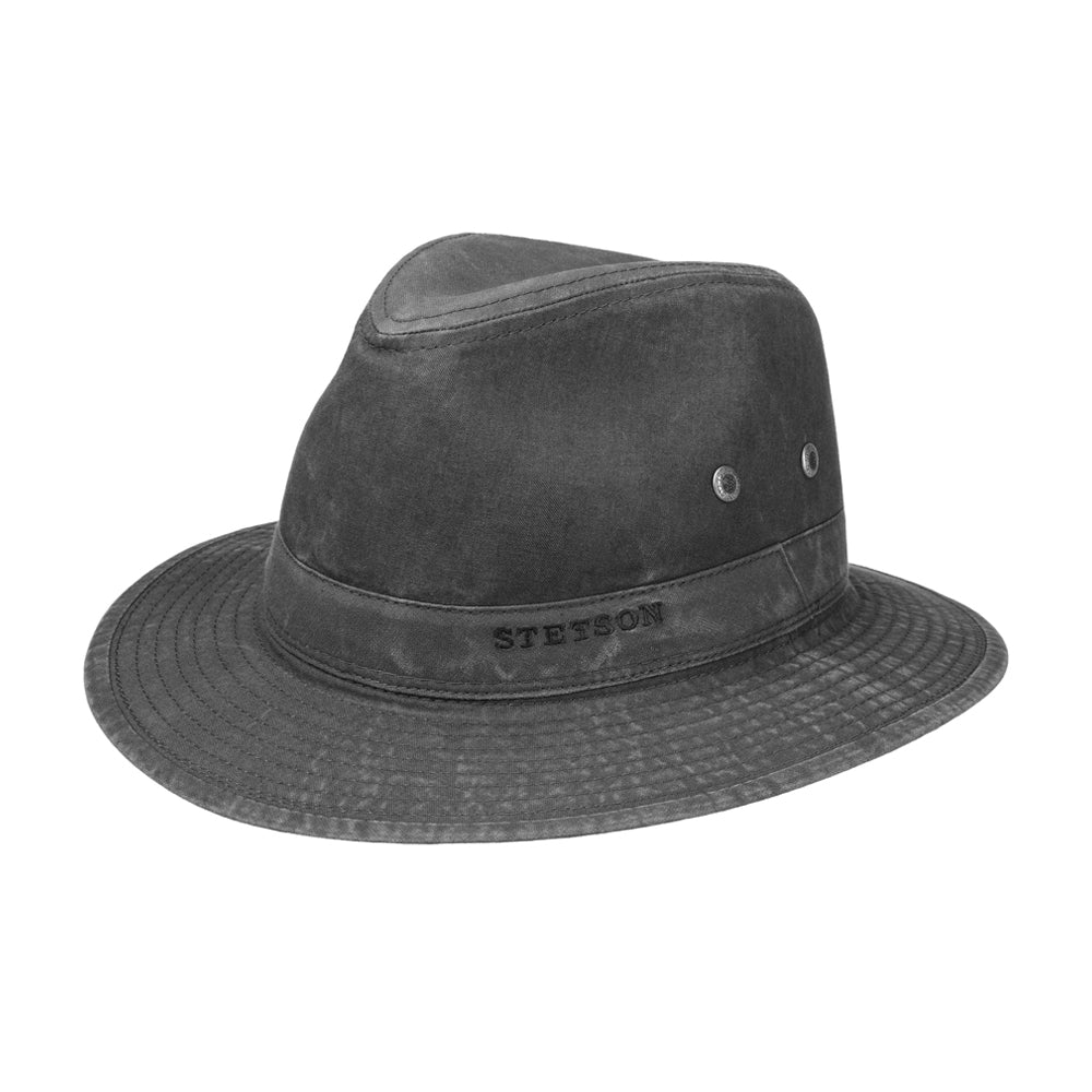 Stetson Traveller Hat Delave Organic Cotton Fedora Black Sort
