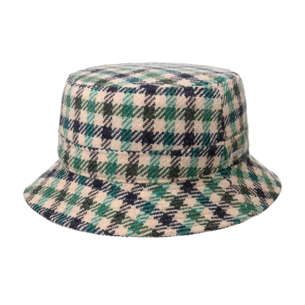 Stetson Vichy Check Clouth Hat Bucket Hat  Bølle Hat Green Beige Black Grøn Sort 1810201-227