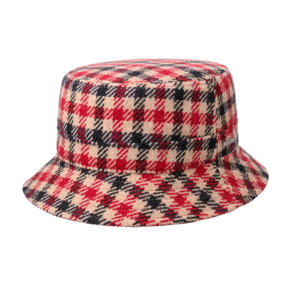 Stetson Vichy Check Clouth Hat Bucket Hat Bølle Hat Red Beige Black Rød Sort 1810201-268