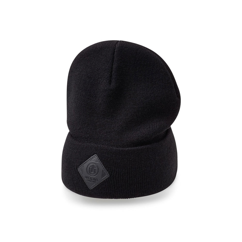 Upfront Official 2 Fold Up Fold Huer Beanie Black Black Sort