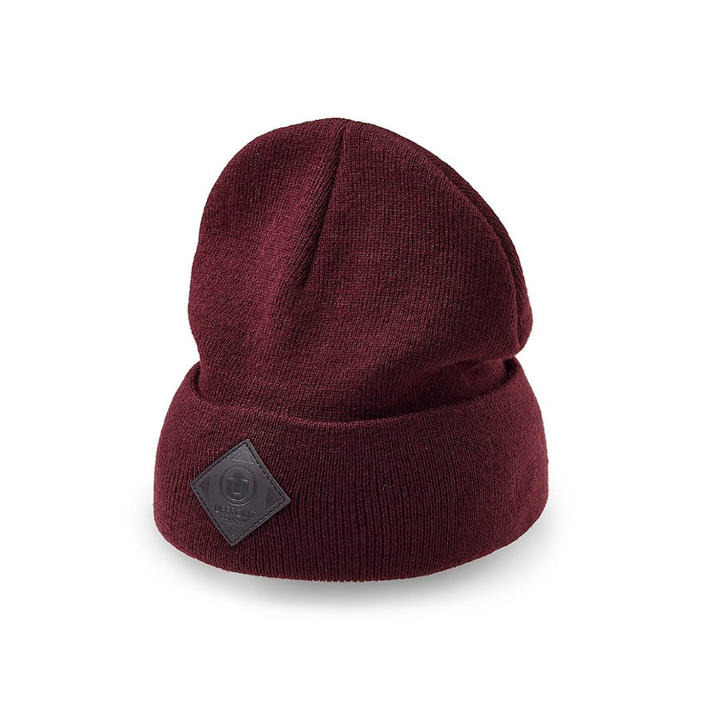 Upfront Official 2 Fold Up Fold Huer Beanie Burgundy Maroon Rød
