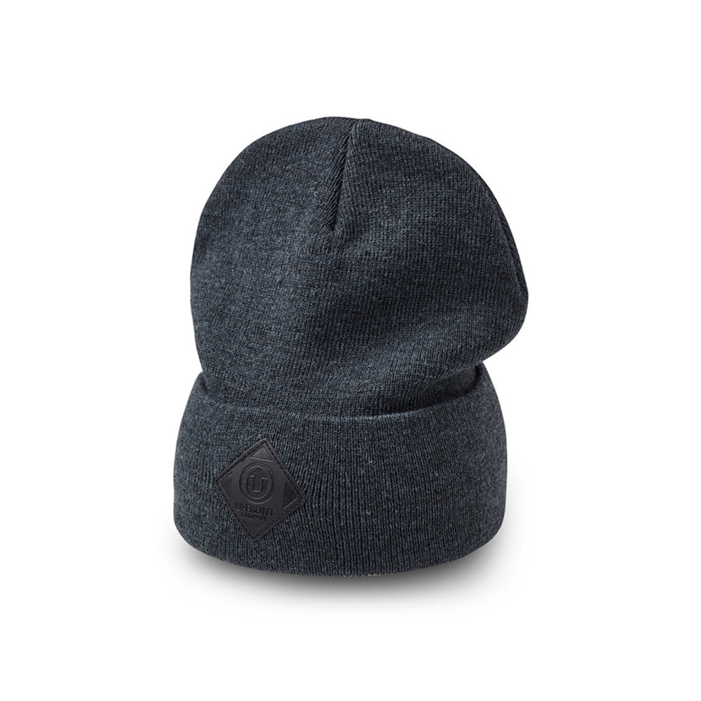 Upfront Official 2 Fold Up Fold Huer Beanie Dark Grey Black Mørkegrå Sort
