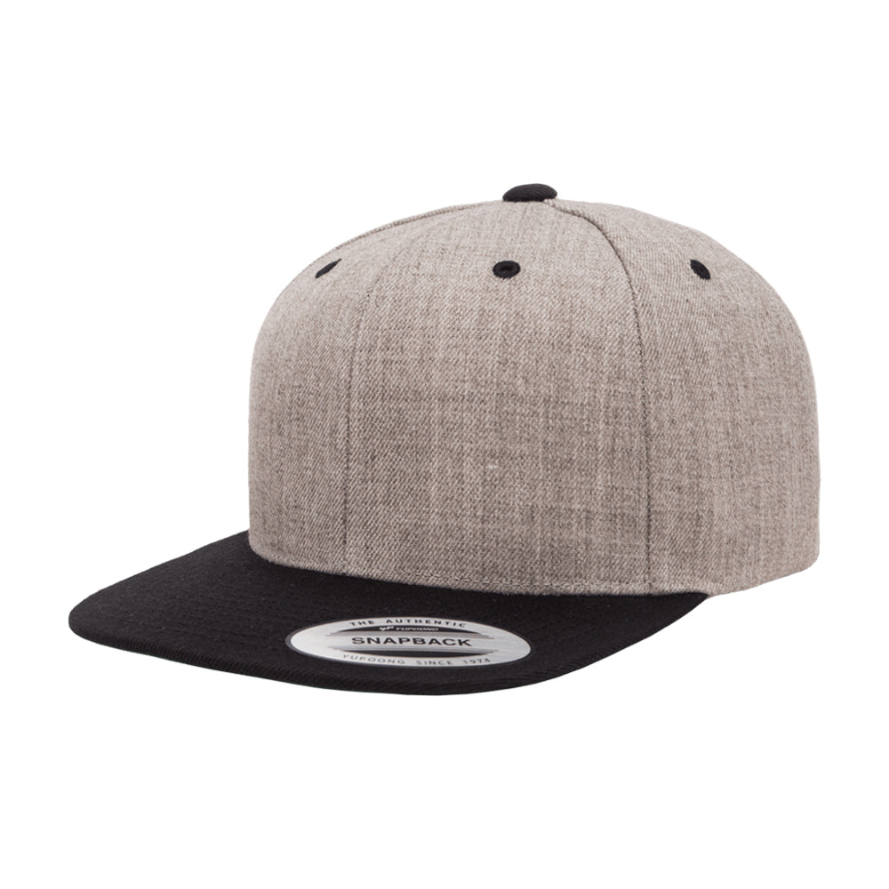 Yupoong Flexfit Classic Snapback Heather Grey Black Grå Sort 6089M