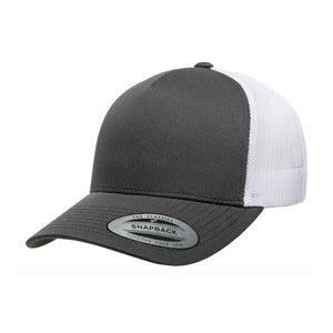 Flexfit/Yupoong Trucker 5 Panel Snapback 6506 Dark Grey White Mørkegrå Hvid