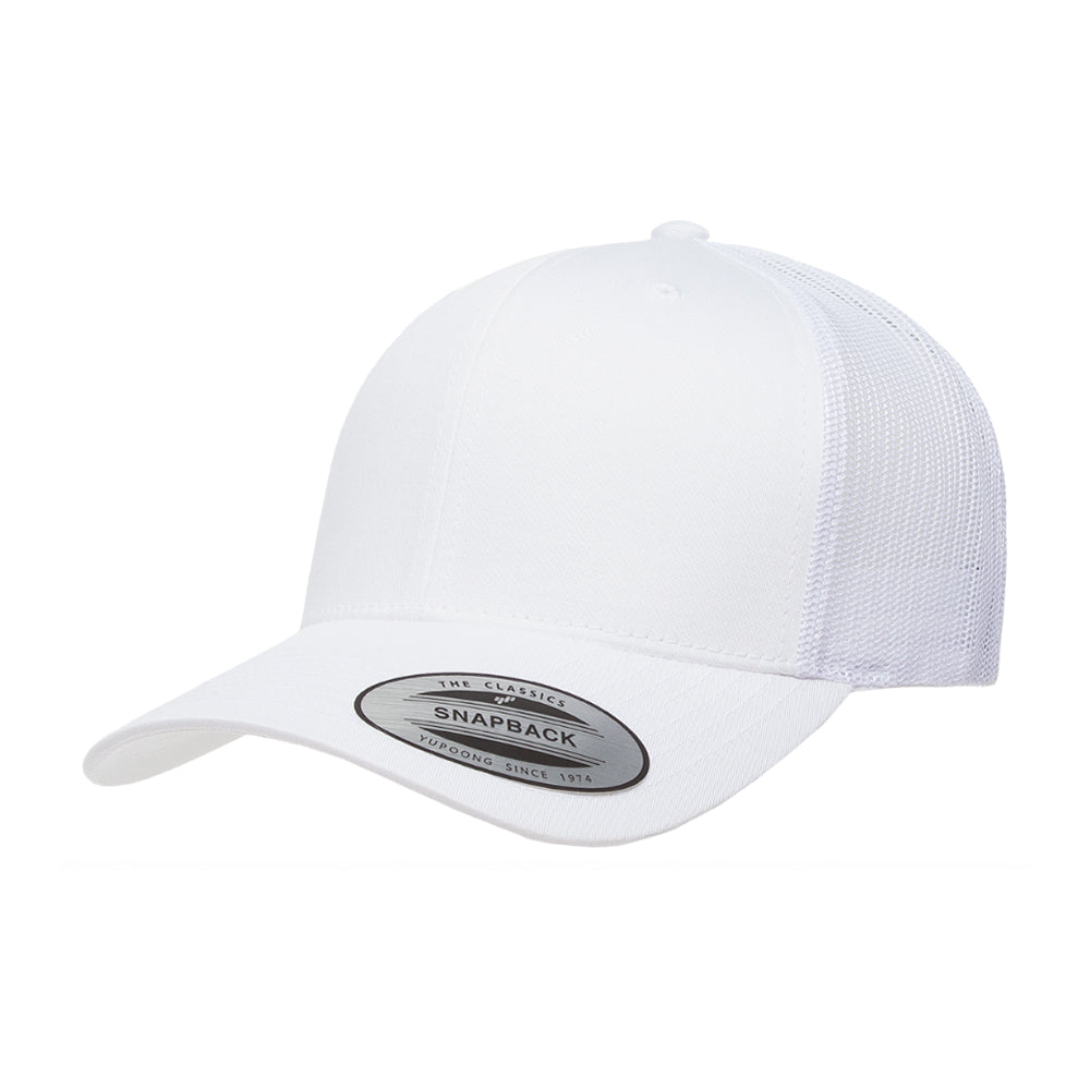 Flexfit/Yupoong Trucker 6 Panel Snapback 6606 White Hvid