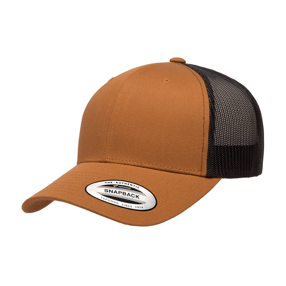 Yupoong Flexfit Trucker 6 Panel Snapback Caramel Black Brun Sort 6606