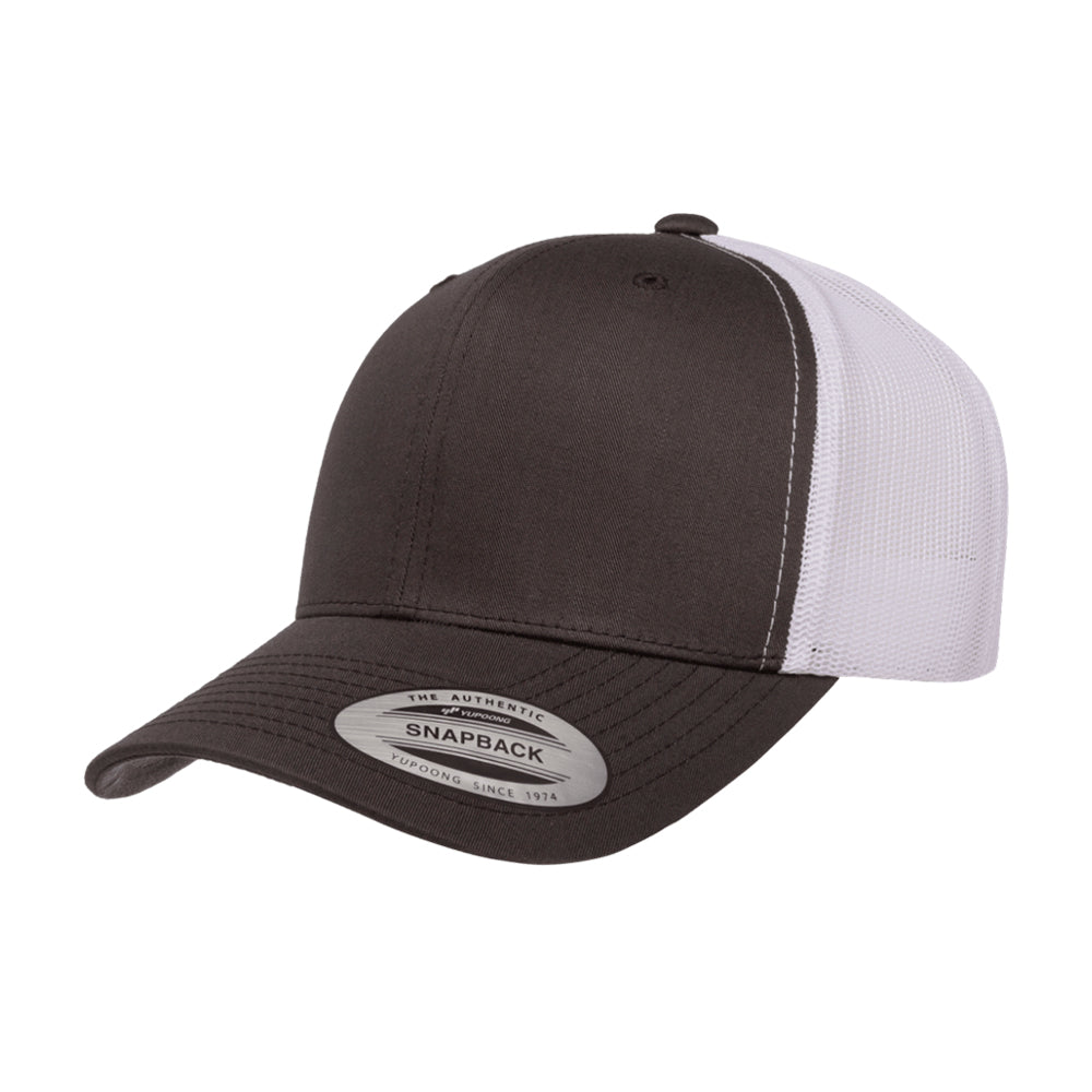 Yupoong Trucker 6 Panel Snapback 6606 Dark Grey White Mørkegrå Hvid