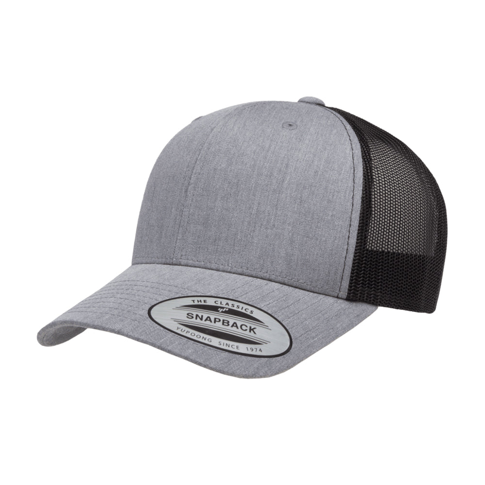 Yupoong Trucker 6 Panel Snapback 6606 Heather Grey Black Grå Sort