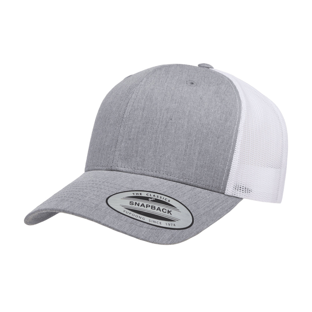 Yupoong Trucker 6 Panel Snapback 6606 Heather Grey White Grå Hvid