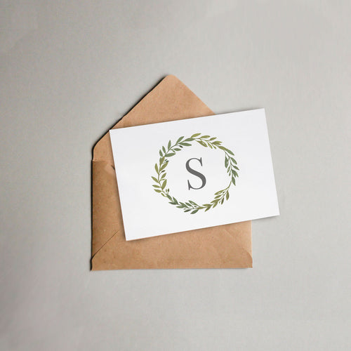 Greenery Wreath Monogrammed Thank-You-Card