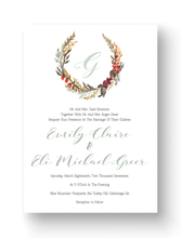 Monogrammed Floral Wreath Invitations