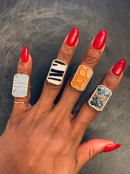 LEATHER / ANIMAL PRINT RINGS