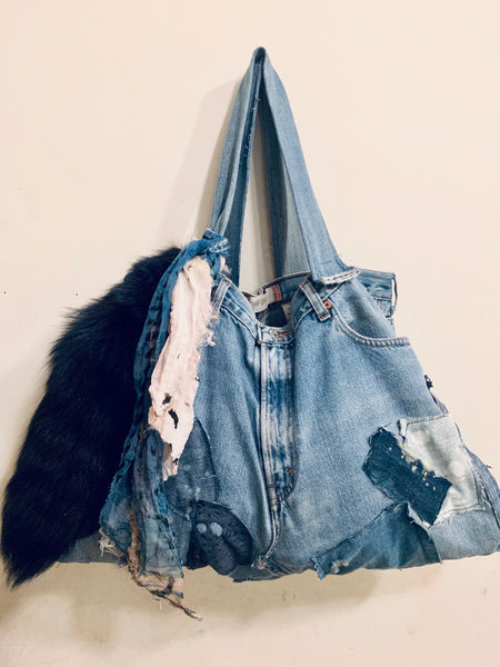 DISTRESSED PATCHWORK DENIM TOTE