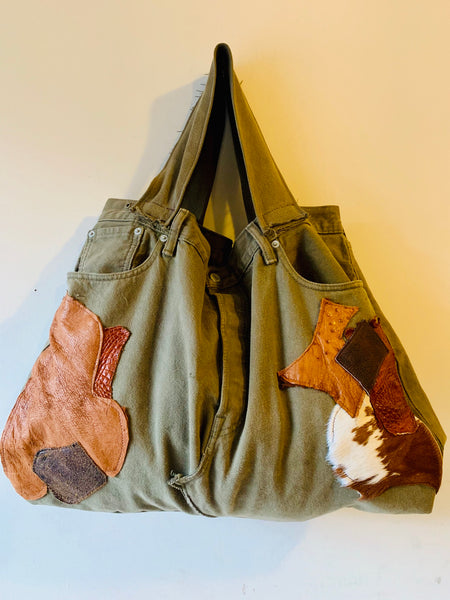 PATCHWORK DENIM TOTE - ARMY GREEN