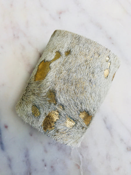 METALLIC BRONZE SPOTTED COWHIDE CUFF