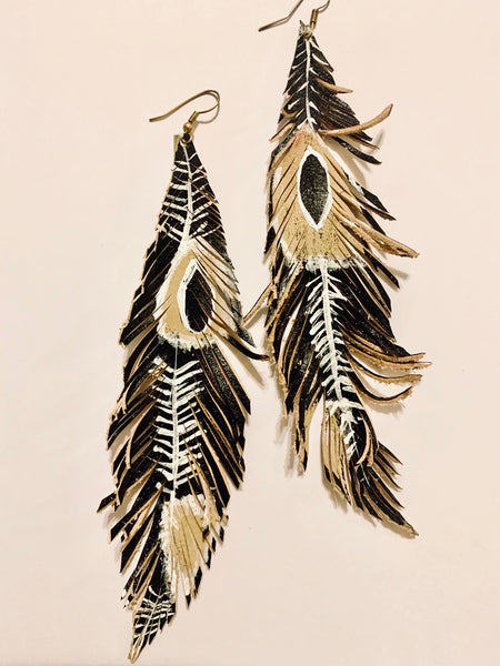 HAND-PAINTED LEATHER FEATHERS - TRIBAL