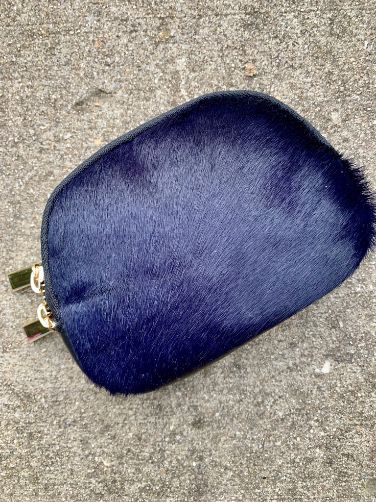 MIDNIGHT BLUE COWHIDE MAKE-UP BAG