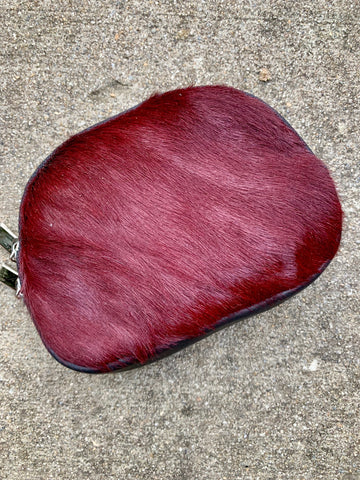 MAROON COWHIDE MAKE-UP BAG