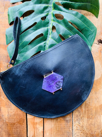 HALF CIRCLE LEATHER AMETHYST CLUTCH